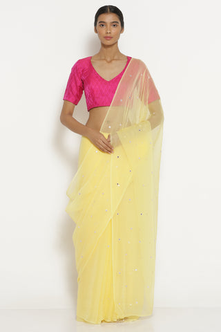 Light Yellow Chiffon Saree with All Over Embellishment