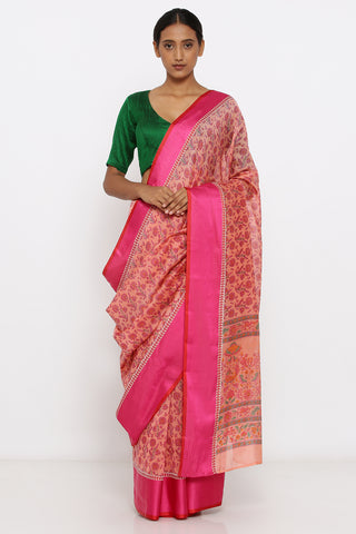 Pink Handloom Silk-Cotton Chanderi Saree with Allover Floral Print and Woven Border