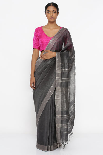 Via East slate grey pure tussar linen saree with silver zari border and woven pallu