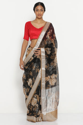 Black Pure Organza Sheer Saree with All Over Floral Print and Rich Silver Border