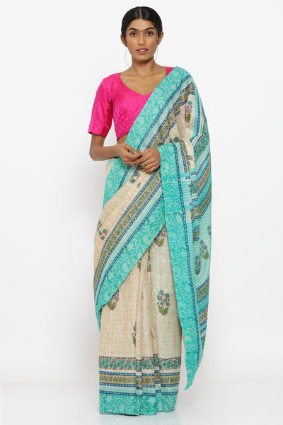 Via East beige handloom pure tussar silk with sanganeri block print and detailed blue pallu