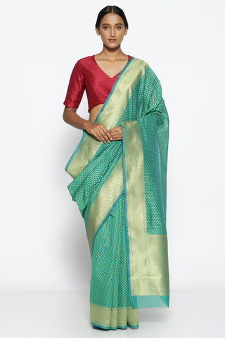 Green Silk-Cotton Banarasi Saree with All Over Gold Zari Paisley Motifs