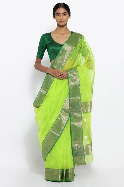 Via East bright green handloom pure silk chanderi sheer saree with all over zari motifs and rich zari border