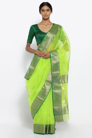 Bright Green Handloom Pure Silk Chanderi Sheer Saree with All Over Zari Motifs and Rich Zari Border