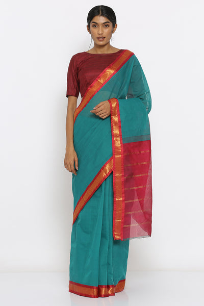 Via East teal green handloom cotton gadwal saree with intricate border and striped pallu