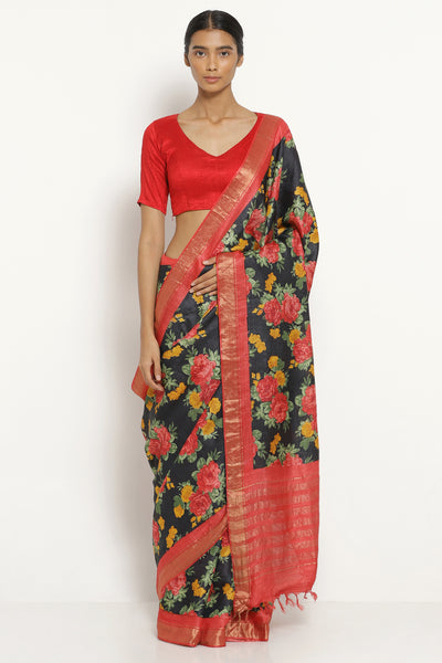 Via East black handloom pure tussar silk saree with all over floral print