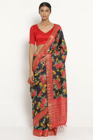 Black Handloom Pure Tussar Silk Saree with All Over Floral Print