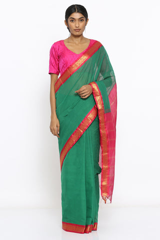 Green Handloom Cotton Gadwal Saree with Intricate Border and Striped Pallu