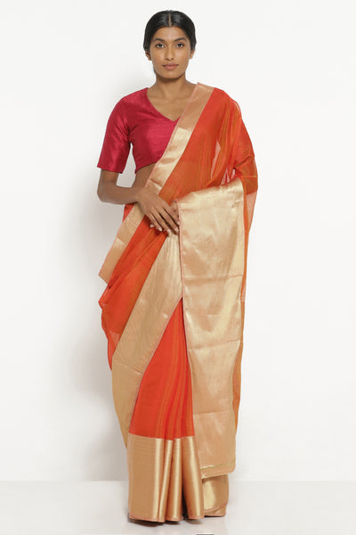 Via East orange handloom silk cotton chanderi saree with rich gold border