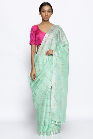 Seaform Green Pure Linen Saree with all Check Pattern in Gold Zari
