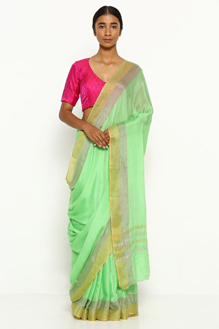 Green Pure Crepe Saree with Silver and Gold Zari Border