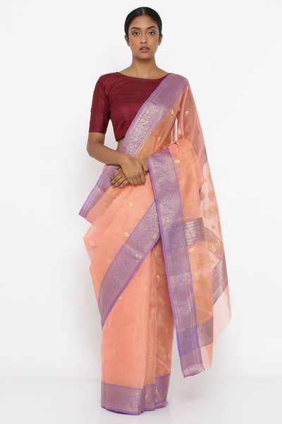 Via East salmon pink handloom pure silk tissue chanderi sheer saree with allover zari motif and rich lilac border