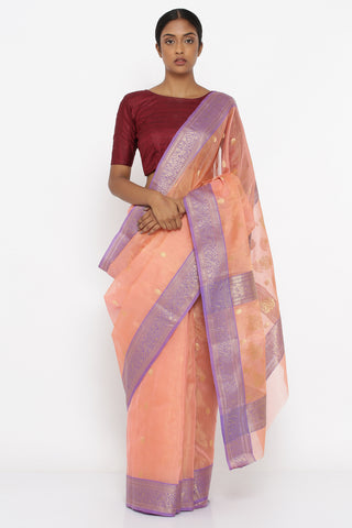 Salmon Pink Handloom Pure Silk-Tissue Chanderi Sheer Saree with Allover Zari Motif and Rich Lilac Border