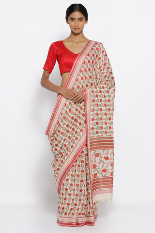 White Handloom Pure Cotton Saree with Red Floral Print and Elegant Border