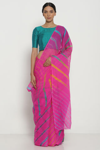 Pink Pure Chiffon Saree with Blue-Green Traditional Leheriya Pattern