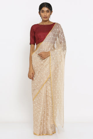 Beige Handloom Kota Silk Saree with Sequin Work and Zari Border