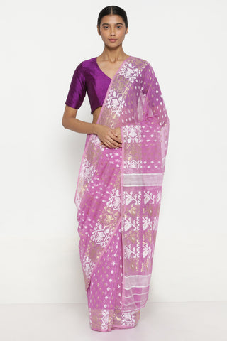 Pink Dhakai Cotton Jamdani with All Over Traditional Motifs and Border