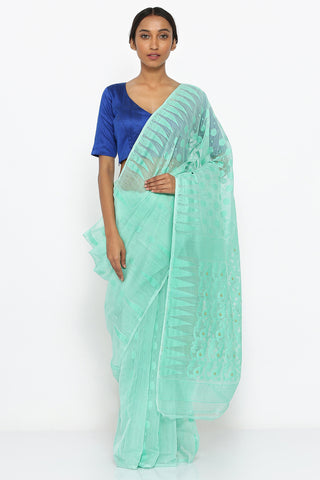 Blue Jamdani Cotton Saree with Self Weave Motif