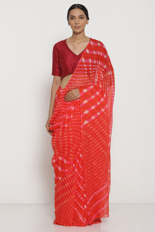 Orange and Pink Pure Chiffon Saree with Traditional Leheriya Pattern