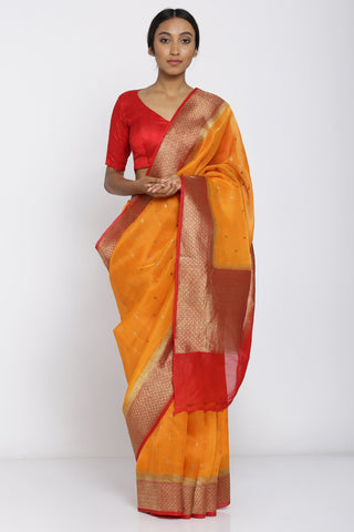 Orange Handloom Silk Organza Saree with All Over Motif and Rich Zari Border