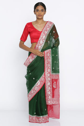 Deep Green Handloom Pure Georgette Banarasi Saree with Zari Motif and Red Detailed Border