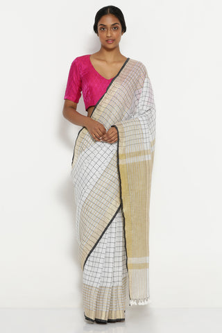 White Pure Linen Saree with All Over Checks and Gold Zari Border