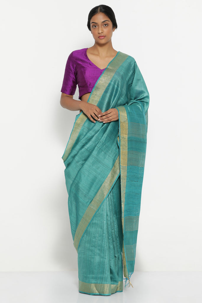 Turquoise Blue Handloom Pure Tussar Silk Saree with Gold Zari Border