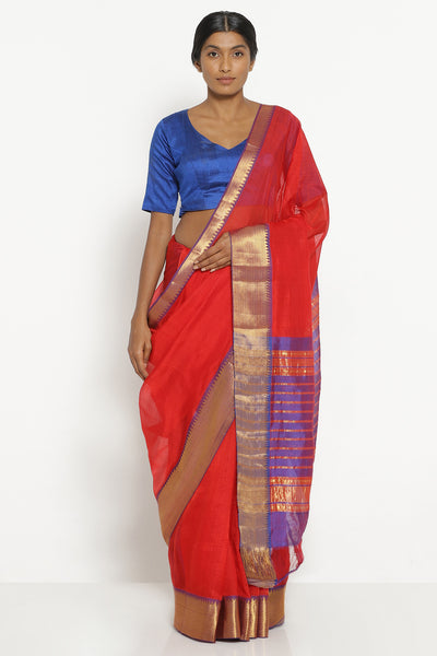 Via East red handloom silk cotton mangalagiri saree with contrasting blue border