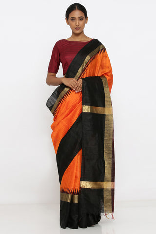 Orange Handloom Pure Raw Silk Saree with Traditional Black and Gold Temple Border