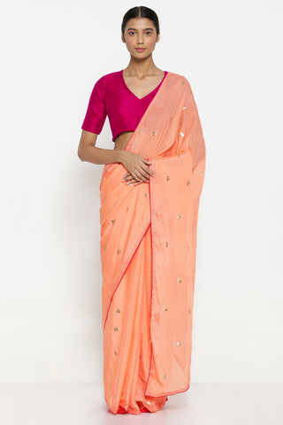 Coral Chiffon Saree with All Over Hand Embroidered Gota Patti Work and Contrasting Pink Border