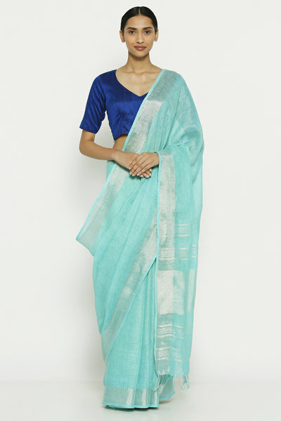 Via East sea blue linen cotton saree with woven pallu
