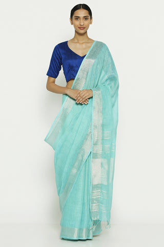 Sea Blue Jute Cotton Saree with Woven Pallu