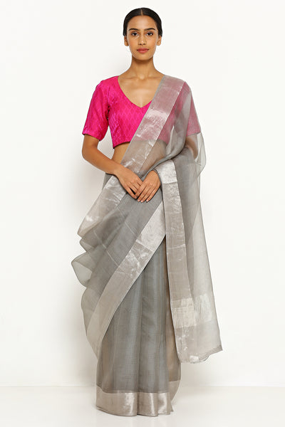 Via East slate grey pure silk kota saree with silver zari border