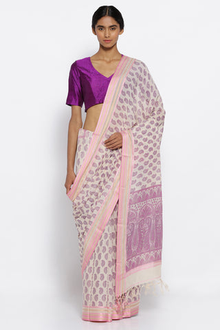 Beige Handloom Pure Cotton Saree with All Over Floral Print and Pink Woven Border