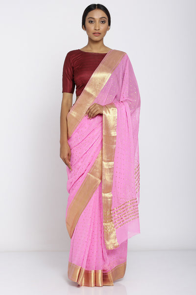 Via East light pink handloom pure chiffon saree with all over gold motifs and rich border