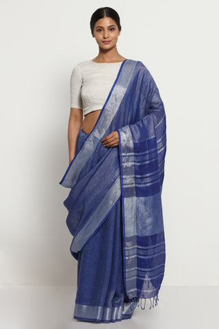 Navy Blue Linen Tissue Saree with All Over Silver Zari Stripes