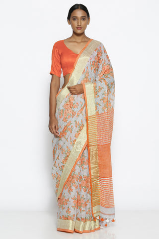 Powder Blue Linen Saree with All Over Floral Print