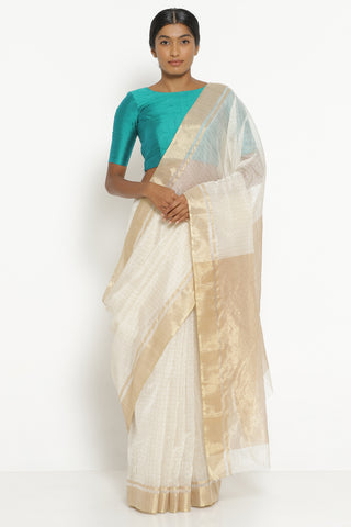 Ivory Handloom Silk Cotton Chanderi Saree with All Over Zari Checks