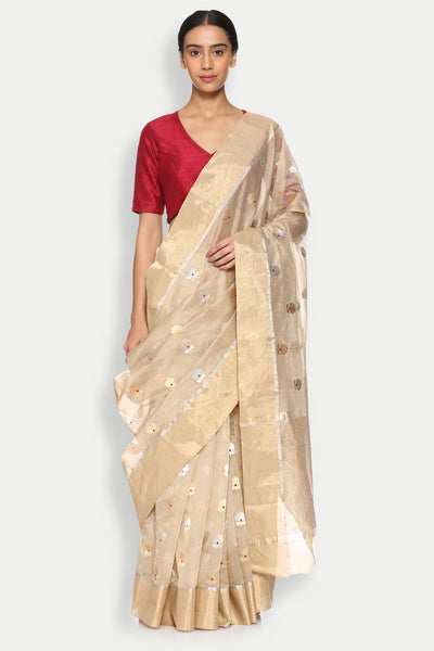 Via East copy of beige handloom silk cotton chanderi saree with all over floral motifs