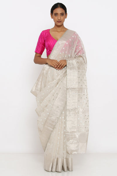 Via East silver handloom pure silk tissue chanderi sheer saree with allover zari motif and rich pallu