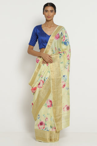 Light Yellow Dupion Silk Saree with All Over Floral Print and Detailed Border