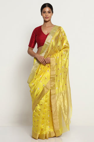Yellow Handloom Pure Silk Chanderi Saree with All Over Motifs and Rich Gold Zari Border