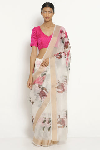 Off White Pink Handloom Pure Silk-Organza Saree with All Over Floral Print