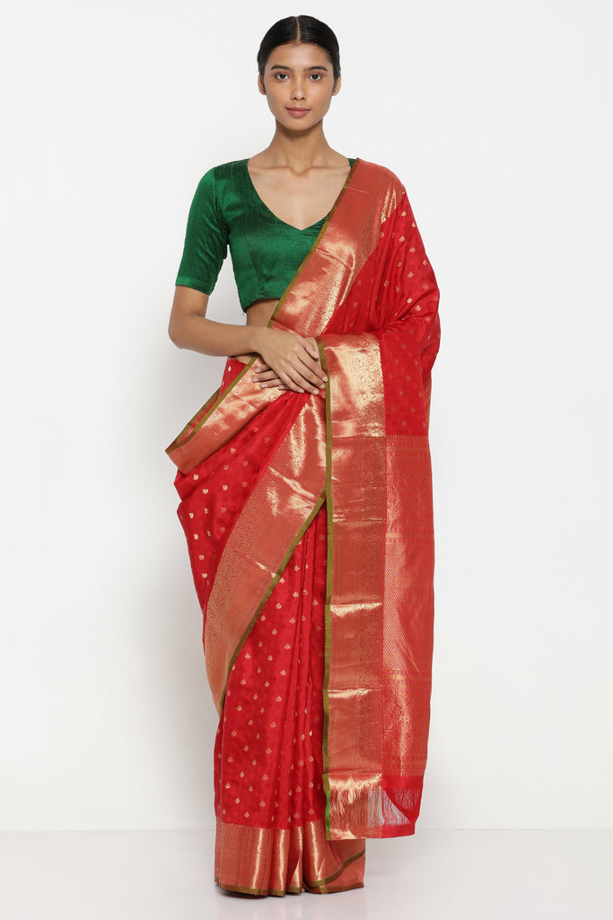 Ruby Red Handloom Pure Silk Kanjeevaram Saree with All Over Lotus Motifs and Rich Paisley Woven Border