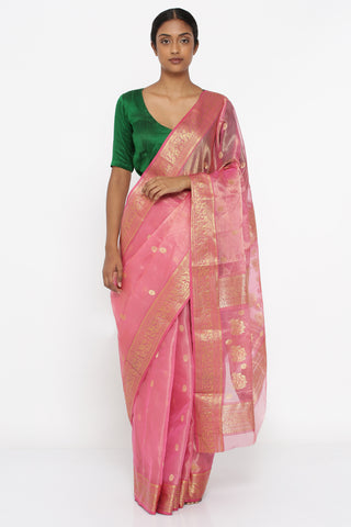 Lotus Pink Handloom Pure Silk-Tissue Chanderi Sheer Saree with All Over Zari Motif and Elaborate Rich Border