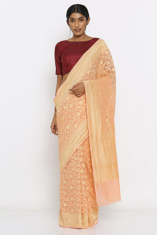 Peach Handloom Pure Khaddi Georgette Banarasi Saree with Allover Floral Vine Brocade Motif