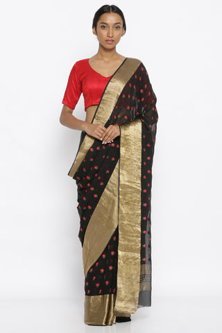 Pure Black Georgette Sheer Saree with All Over Floral Embroidery and Detailed Gold Zari Border