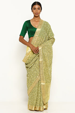 Daffodil Yellow Pure Chiffon Saree with All Over Detailed Floral Embroidery