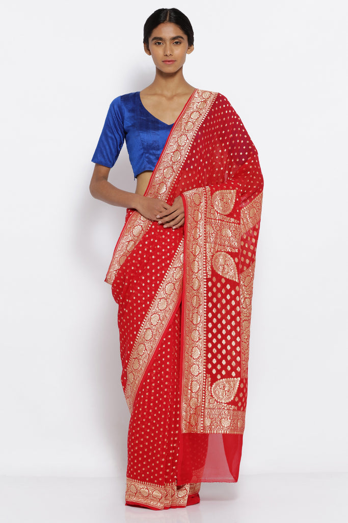 Vermilion Red Handloom Pure Georgette Banarasi Saree with All Over Gold Motifs and a Rich Detailed Border