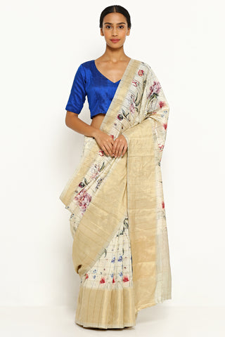 Off White Pure Dupion Chinon Silk Saree with All Over Floral Print